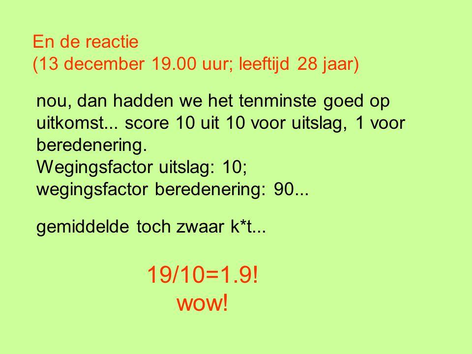 En de reactie (13 december 19.00 uur; leeftijd 28 jaar) nou, dan hadden we het tenminste goed op uitkomst... score 10 uit 10 voor uitslag, 1 voor bere