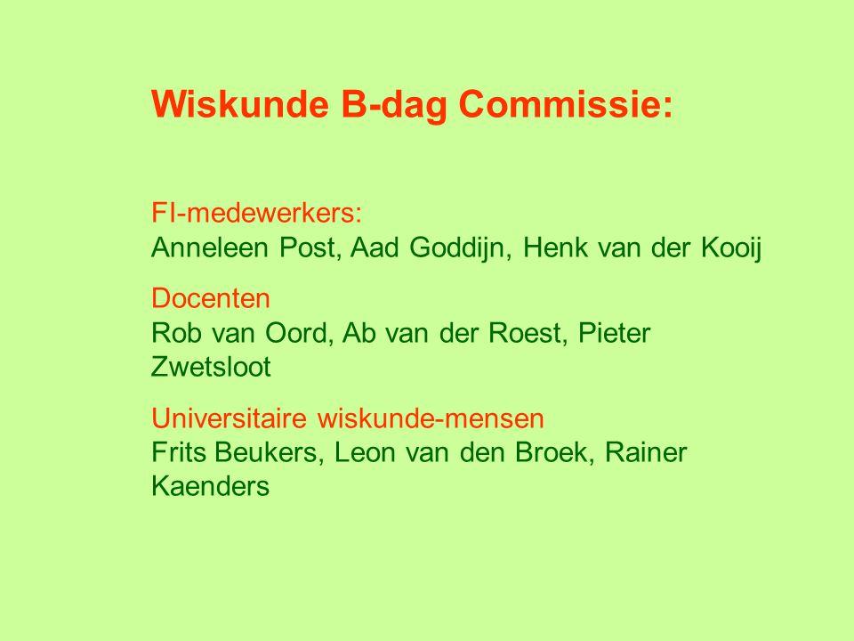 Wiskunde B-dag Commissie: FI-medewerkers: Anneleen Post, Aad Goddijn, Henk van der Kooij Docenten Rob van Oord, Ab van der Roest, Pieter Zwetsloot Uni