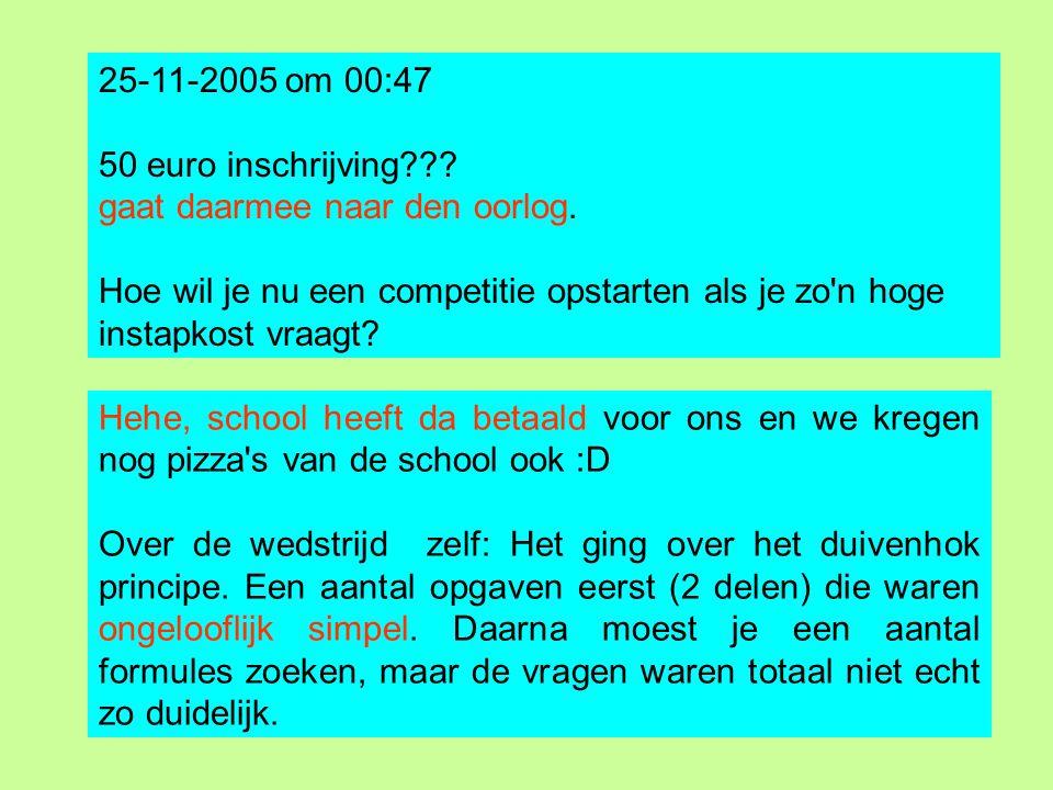 25-11-2005 om 00:47 50 euro inschrijving??? gaat daarmee naar den oorlog. Hoe wil je nu een competitie opstarten als je zo'n hoge instapkost vraagt? H