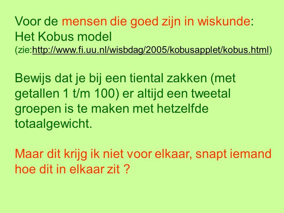 Voor de mensen die goed zijn in wiskunde: Het Kobus model (zie:http://www.fi.uu.nl/wisbdag/2005/kobusapplet/kobus.html)http://www.fi.uu.nl/wisbdag/200