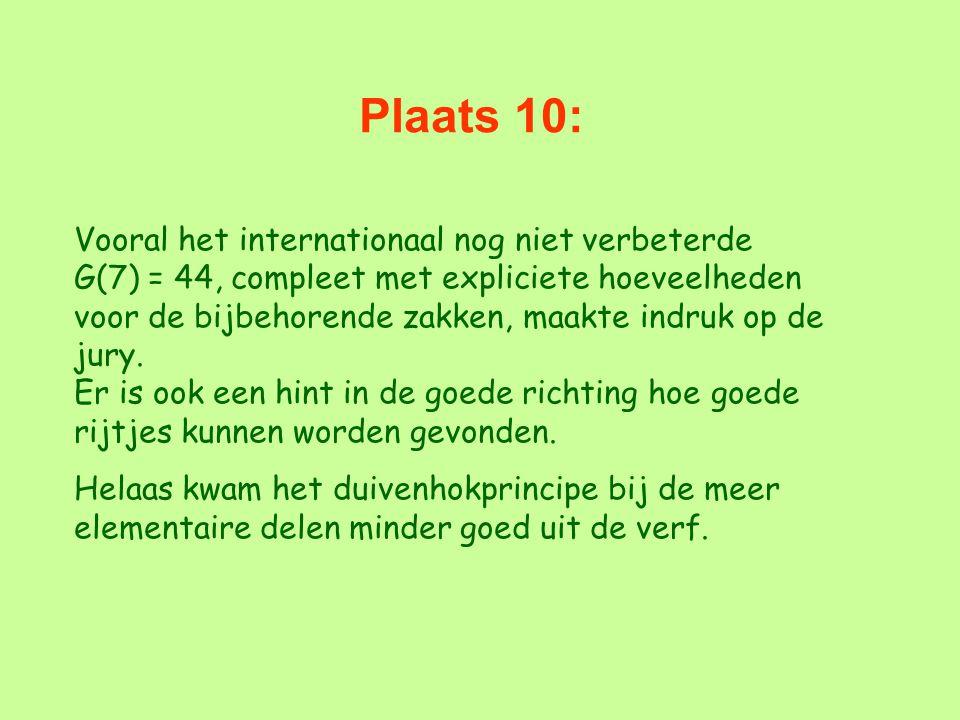 Plaats 10: Vooral het internationaal nog niet verbeterde G(7) = 44, compleet met expliciete hoeveelheden voor de bijbehorende zakken, maakte indruk op