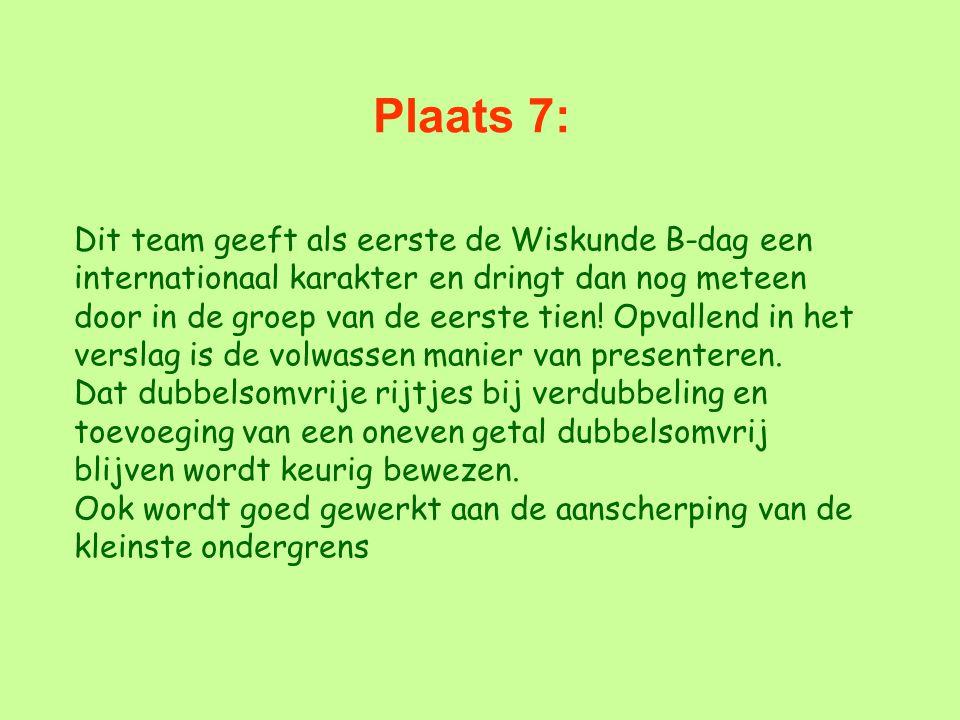 Plaats 7: Dit team geeft als eerste de Wiskunde B-dag een internationaal karakter en dringt dan nog meteen door in de groep van de eerste tien! Opvall