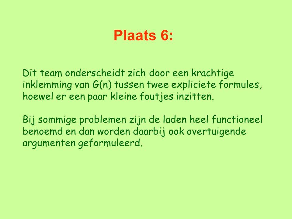 Plaats 6: Dit team onderscheidt zich door een krachtige inklemming van G(n) tussen twee expliciete formules, hoewel er een paar kleine foutjes inzitte