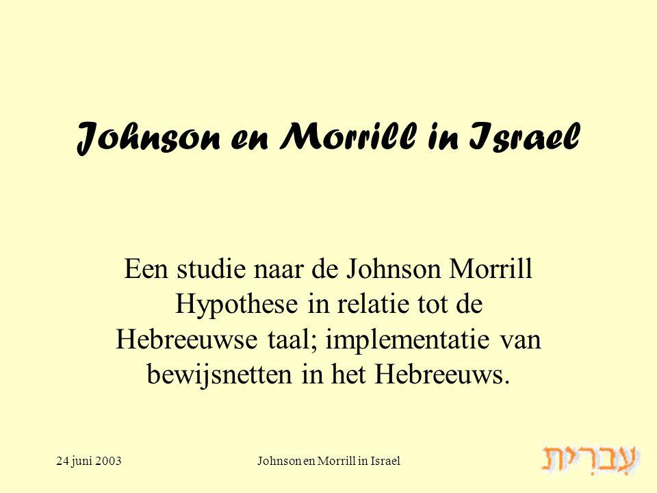 24 juni 2003Johnson en Morrill in Israel Een studie naar de Johnson Morrill Hypothese in relatie tot de Hebreeuwse taal; implementatie van bewijsnetten in het Hebreeuws.