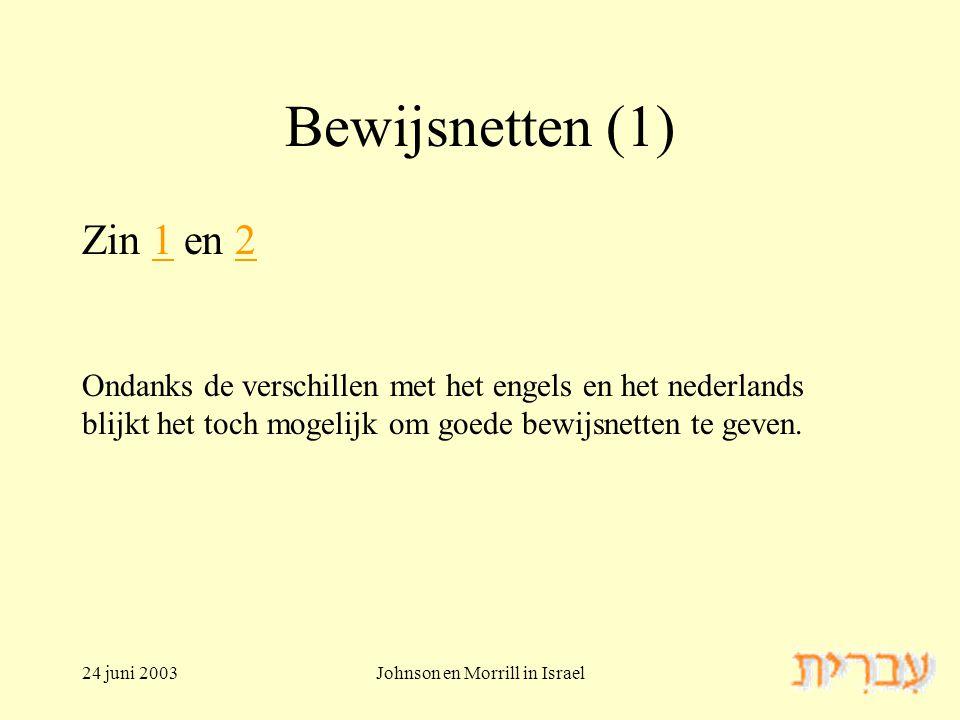 24 juni 2003Johnson en Morrill in Israel Bewijsnetten (1) Zin 1 en 212 Ondanks de verschillen met het engels en het nederlands blijkt het toch mogelijk om goede bewijsnetten te geven.