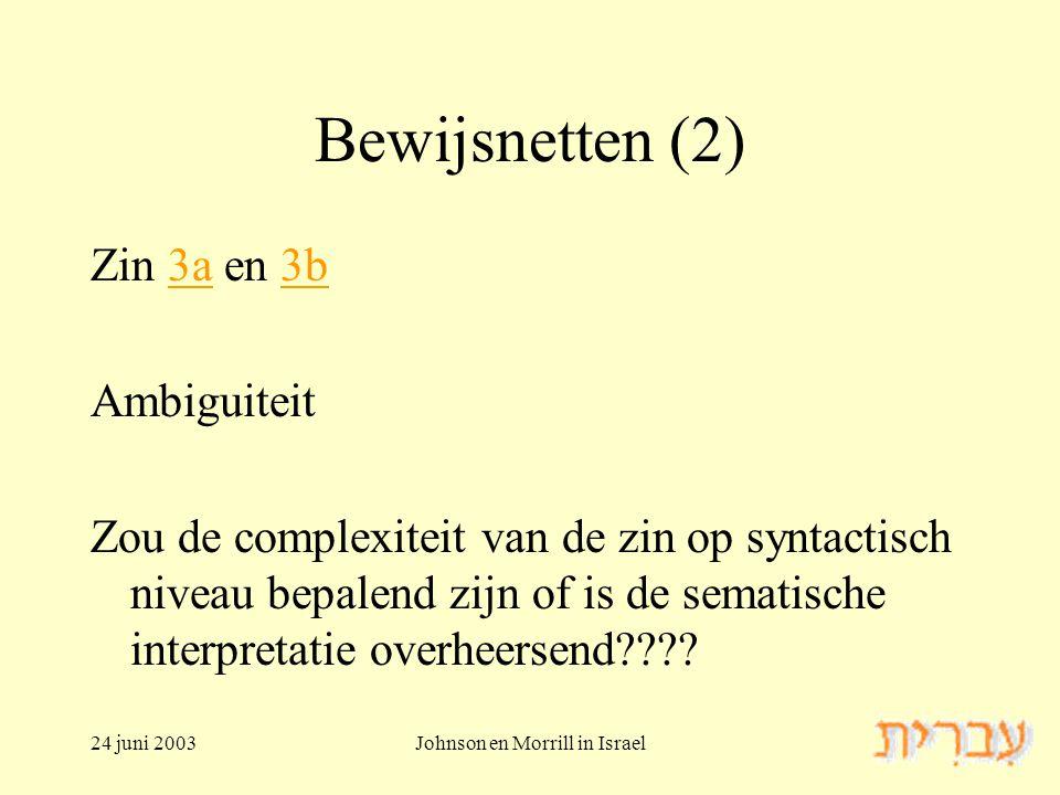 24 juni 2003Johnson en Morrill in Israel Bewijsnetten (2) Zin 3a en 3b3a3b Ambiguiteit Zou de complexiteit van de zin op syntactisch niveau bepalend zijn of is de sematische interpretatie overheersend
