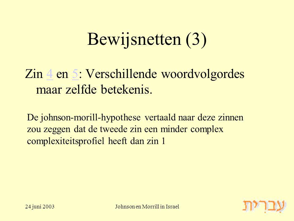 24 juni 2003Johnson en Morrill in Israel Bewijsnetten (3) Zin 4 en 5: Verschillende woordvolgordes maar zelfde betekenis.45 De johnson-morill-hypothese vertaald naar deze zinnen zou zeggen dat de tweede zin een minder complex complexiteitsprofiel heeft dan zin 1