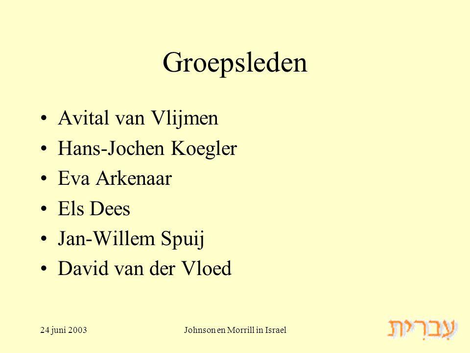 24 juni 2003Johnson en Morrill in Israel Groepsleden Avital van Vlijmen Hans-Jochen Koegler Eva Arkenaar Els Dees Jan-Willem Spuij David van der Vloed