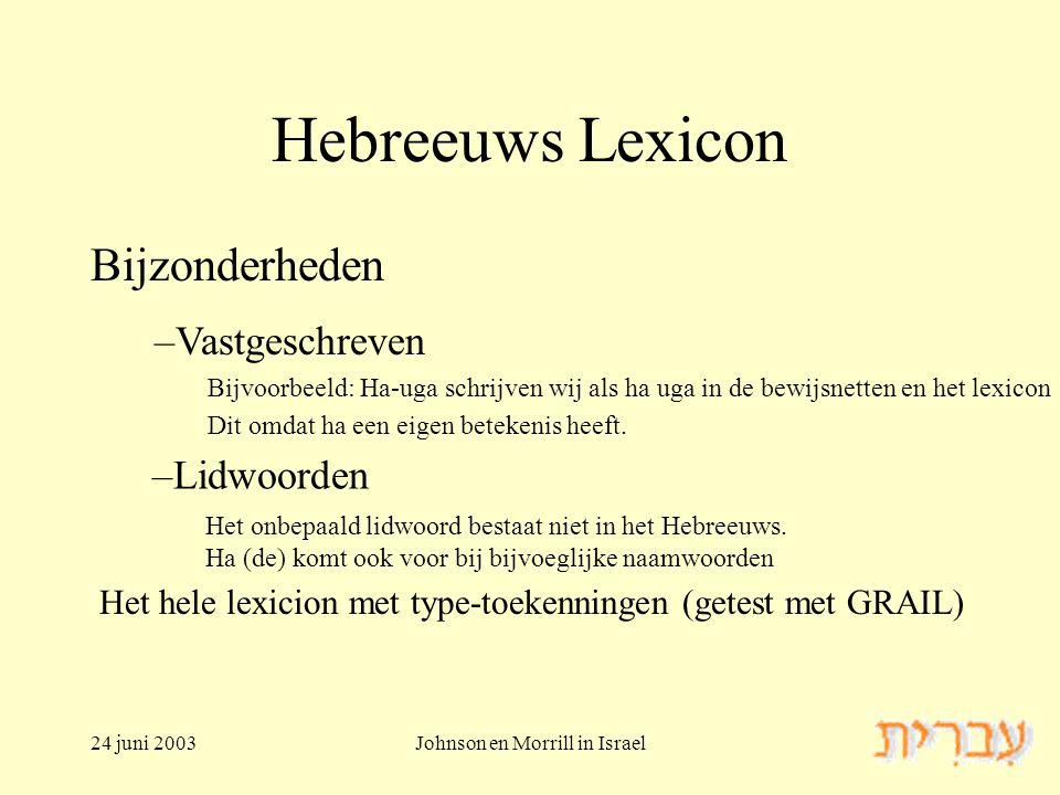 24 juni 2003Johnson en Morrill in Israel Hebreeuws Lexicon Bijzonderheden –Lidwoorden –Vastgeschreven Bijvoorbeeld: Ha-uga schrijven wij als ha uga in de bewijsnetten en het lexicon Dit omdat ha een eigen betekenis heeft.