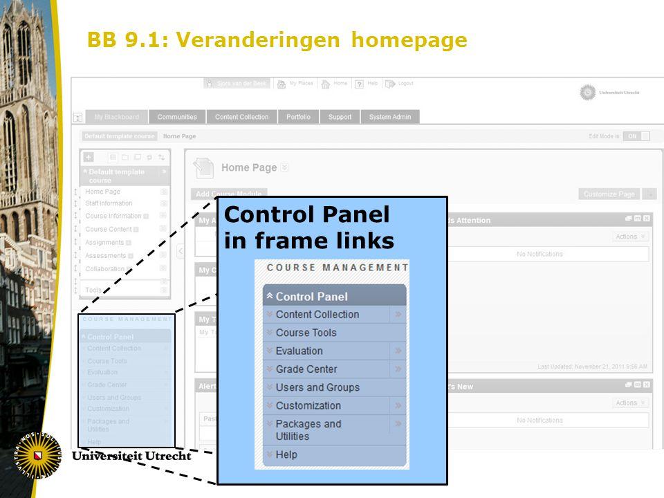 BB 9.1: Veranderingen homepage Control Panel in frame links