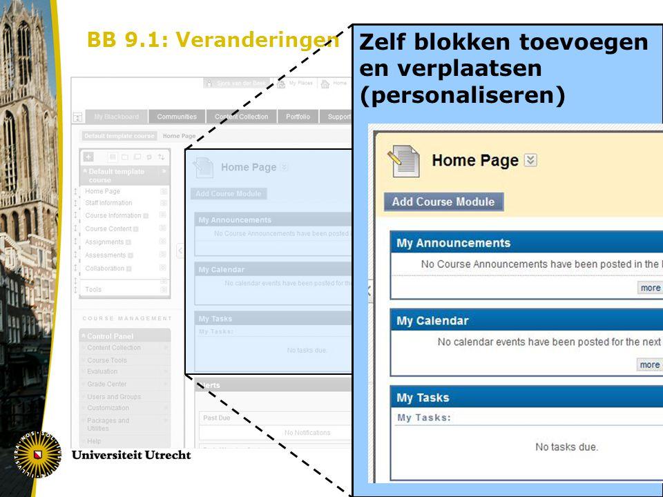 BB 9.1: Veranderingen homepage Zelf blokken toevoegen en verplaatsen (personaliseren)