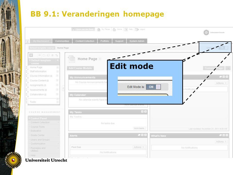BB 9.1: Veranderingen homepage Edit mode
