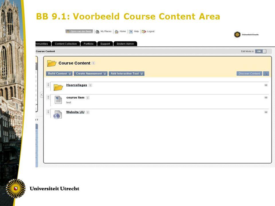 BB 9.1: Voorbeeld Course Content Area