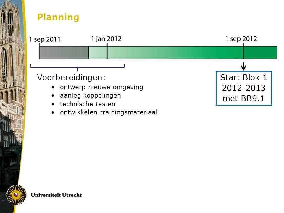 Planning Start Blok 1 2012-2013 met BB9.1 Voorbereidingen: ontwerp nieuwe omgeving aanleg koppelingen technische testen ontwikkelen trainingsmateriaal
