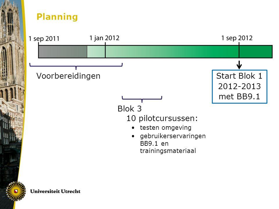 Planning Voorbereidingen Blok 3 10 pilotcursussen: testen omgeving gebruikerservaringen BB9.1 en trainingsmateriaal Start Blok 1 2012-2013 met BB9.1