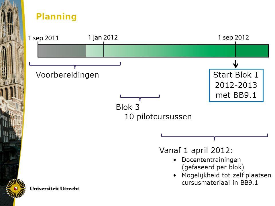 Planning Vanaf 1 april 2012: Docententrainingen (gefaseerd per blok) Mogelijkheid tot zelf plaatsen cursusmateriaal in BB9.1 Voorbereidingen Blok 3 10 pilotcursussen Start Blok 1 2012-2013 met BB9.1