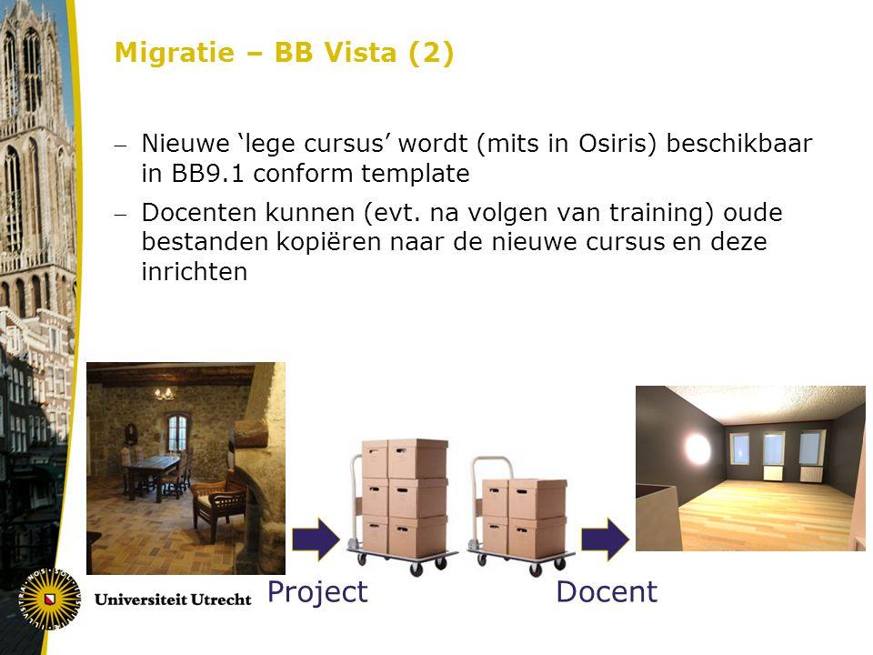 Nieuwe 'lege cursus' wordt (mits in Osiris) beschikbaar in BB9.1 conform template Docenten kunnen (evt.