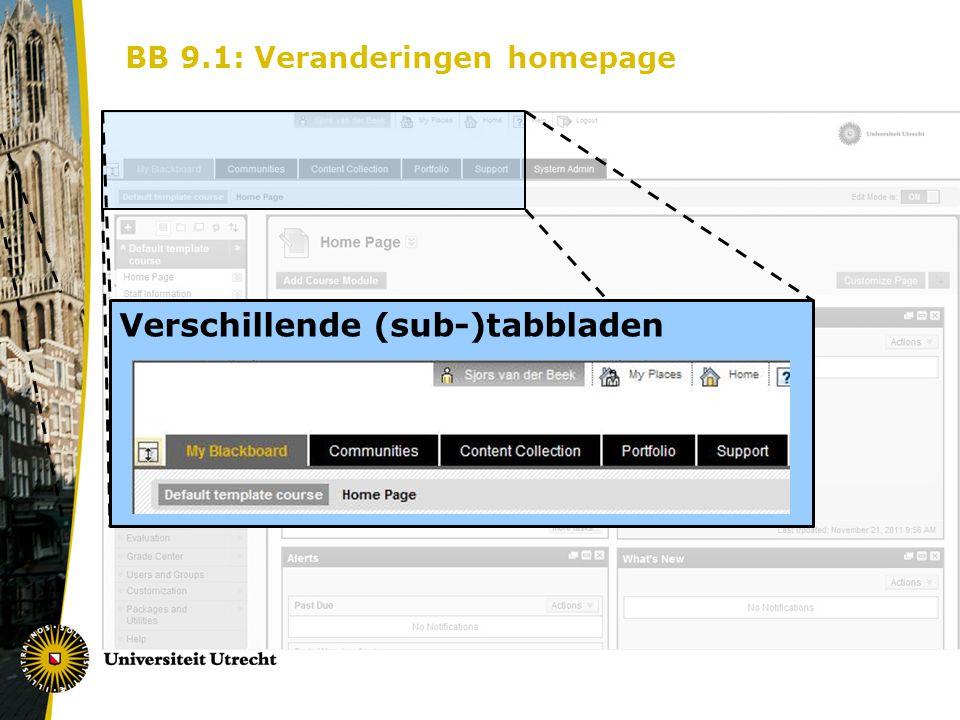 BB 9.1: Veranderingen homepage Verschillende (sub-)tabbladen