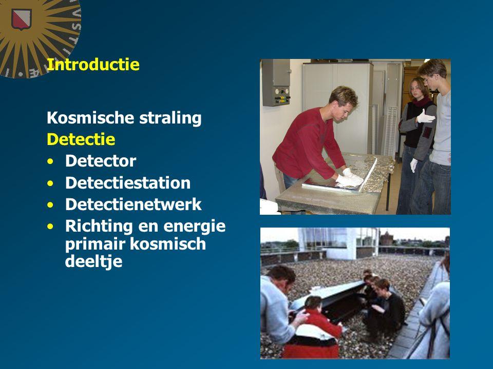Introductie Kosmische straling Detectie Detector Detectiestation Detectienetwerk Richting en energie primair kosmisch deeltje