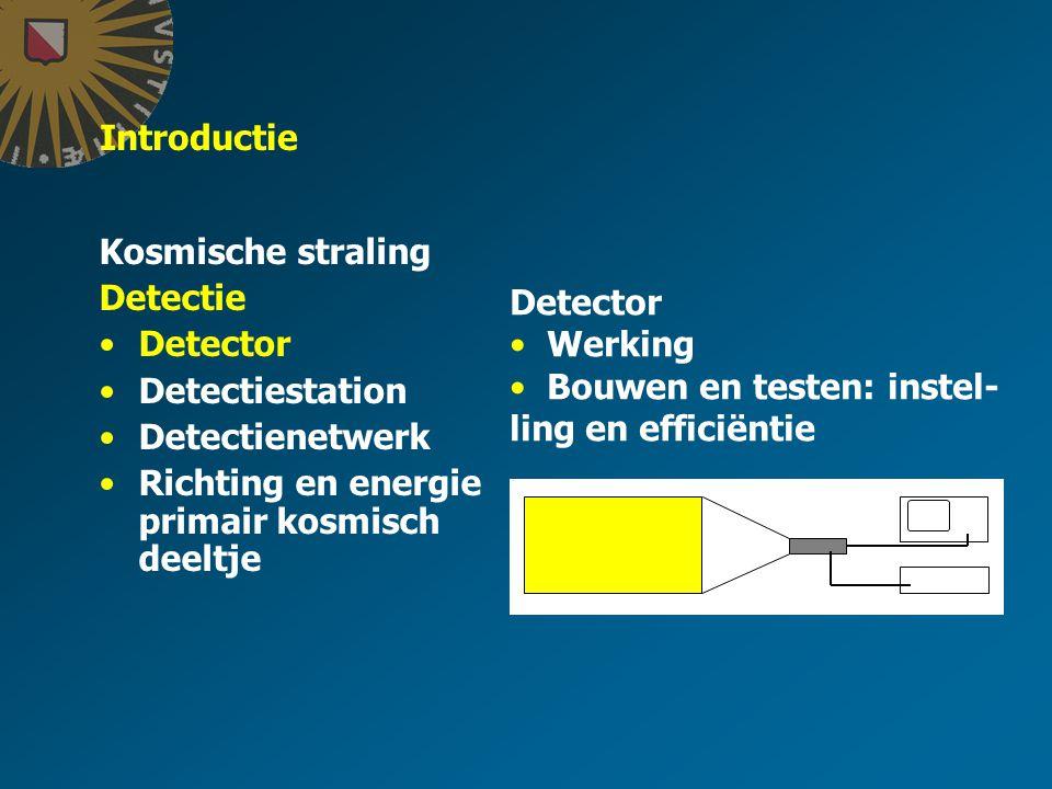 Introductie Kosmische straling Detectie Detector Detectiestation Detectienetwerk Richting en energie primair kosmisch deeltje Detector Werking Bouwen en testen: instel- ling en efficiëntie