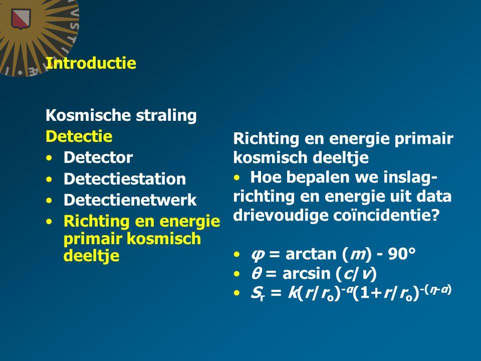 Introductie Kosmische straling Detectie Detector Detectiestation Detectienetwerk Richting en energie primair kosmisch deeltje Hoe bepalen we inslag- richting en energie uit data drievoudige coïncidentie.