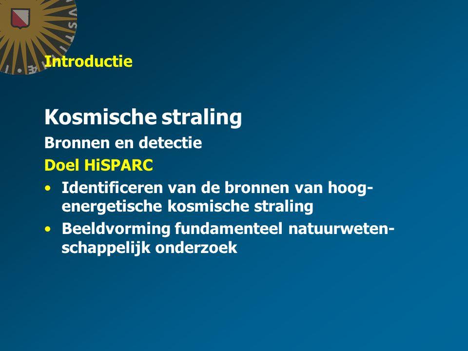 Introductie Kosmische straling Bronnen en detectie Ontdekking Interactie met aardatmosfeer Detectie Websites http://www.cdbeta.uu.nl/subw/hisparc http://www.hisparc.nl
