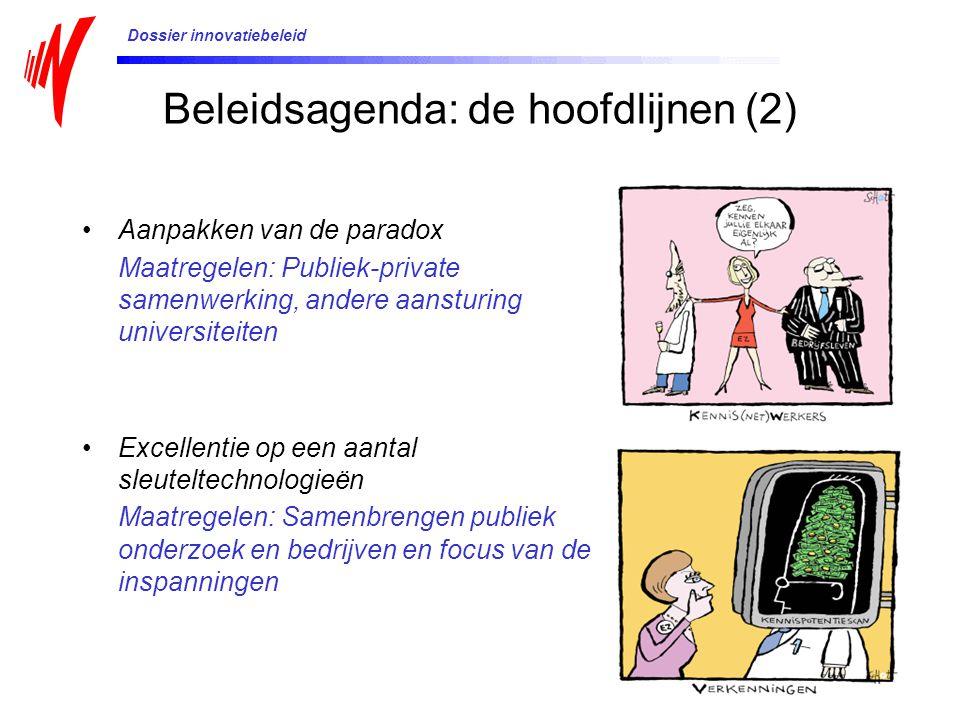 Beleidsagenda: de hoofdlijnen (2) Aanpakken van de paradox Maatregelen: Publiek-private samenwerking, andere aansturing universiteiten Excellentie op een aantal sleuteltechnologieën Maatregelen: Samenbrengen publiek onderzoek en bedrijven en focus van de inspanningen Dossier innovatiebeleid