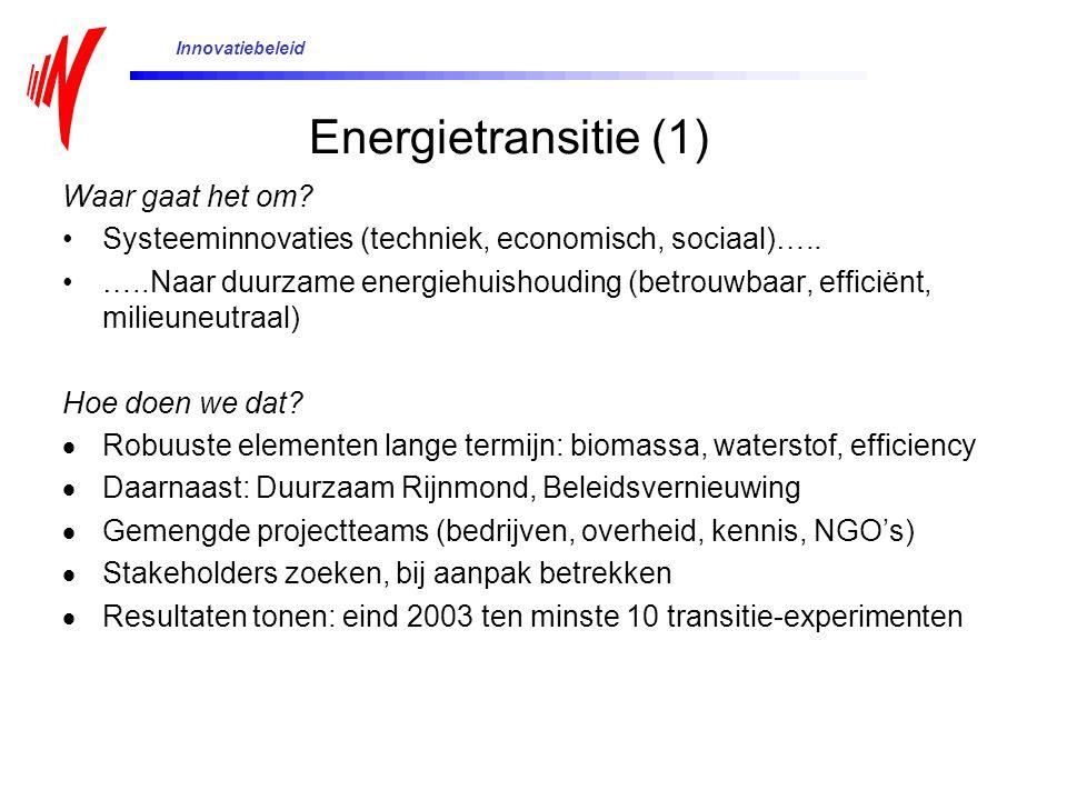 Waar gaat het om? Systeeminnovaties (techniek, economisch, sociaal)….. …..Naar duurzame energiehuishouding (betrouwbaar, efficiënt, milieuneutraal) Ho