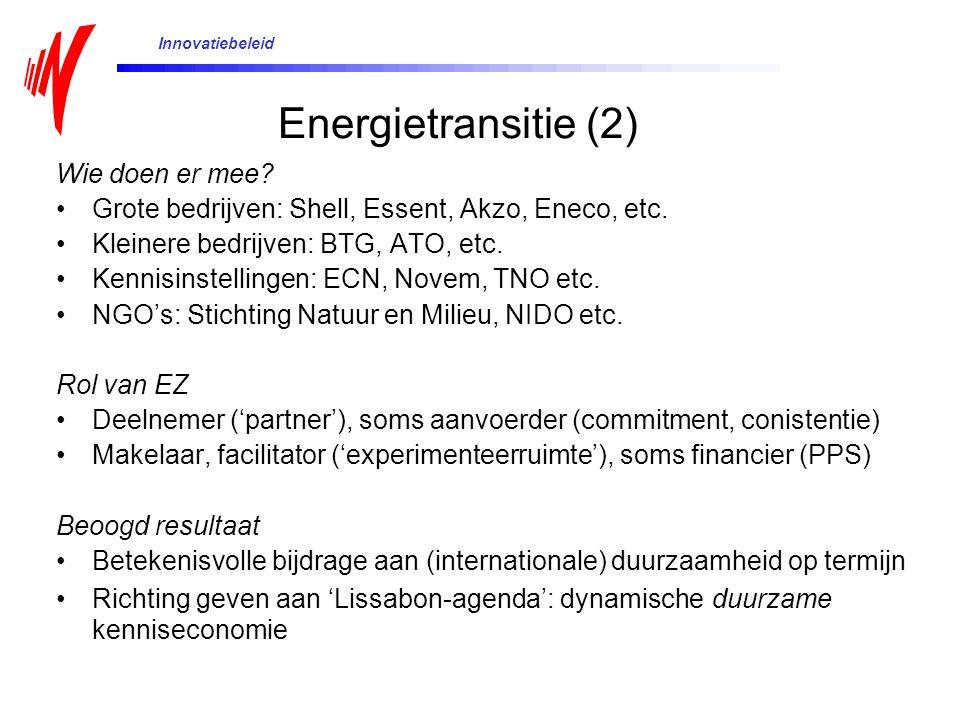 Wie doen er mee? Grote bedrijven: Shell, Essent, Akzo, Eneco, etc. Kleinere bedrijven: BTG, ATO, etc. Kennisinstellingen: ECN, Novem, TNO etc. NGO's:
