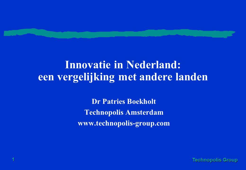 Technopolis Group 1 Innovatie in Nederland: een vergelijking met andere landen Dr Patries Boekholt Technopolis Amsterdam www.technopolis-group.com