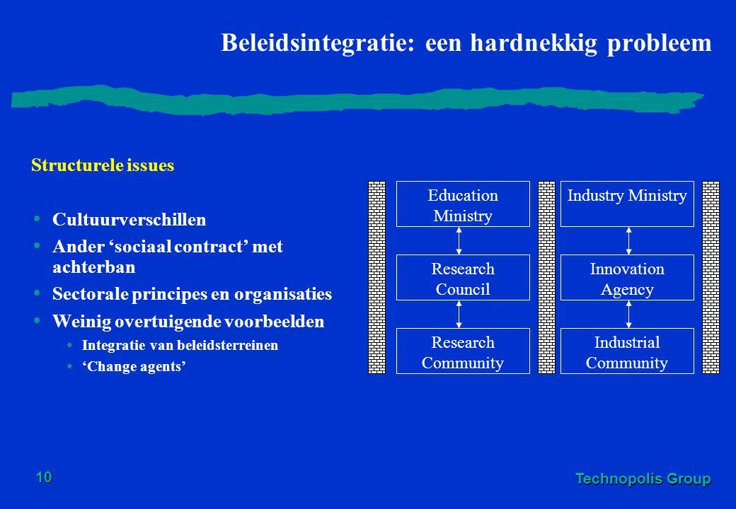Technopolis Group 10 Beleidsintegratie: een hardnekkig probleem Structurele issues Cultuurverschillen Ander 'sociaal contract' met achterban Sectorale