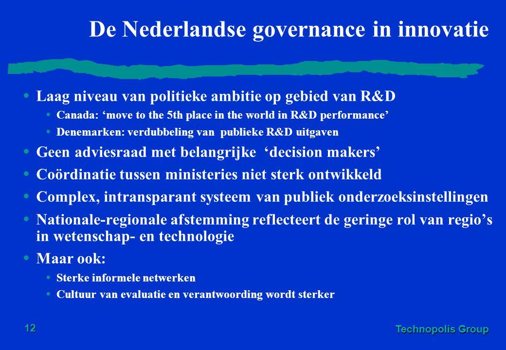 Technopolis Group 12 De Nederlandse governance in innovatie Laag niveau van politieke ambitie op gebied van R&D Canada: 'move to the 5th place in the