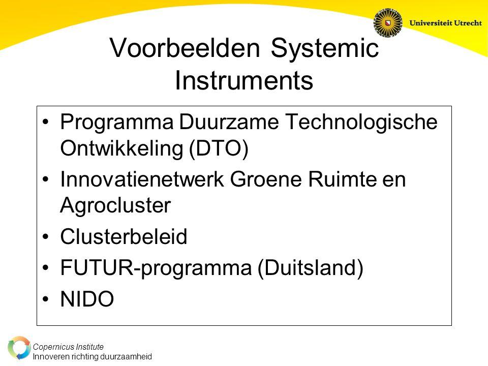 Copernicus Institute Innoveren richting duurzaamheid Voorbeelden Systemic Instruments Programma Duurzame Technologische Ontwikkeling (DTO) Innovatienetwerk Groene Ruimte en Agrocluster Clusterbeleid FUTUR-programma (Duitsland) NIDO