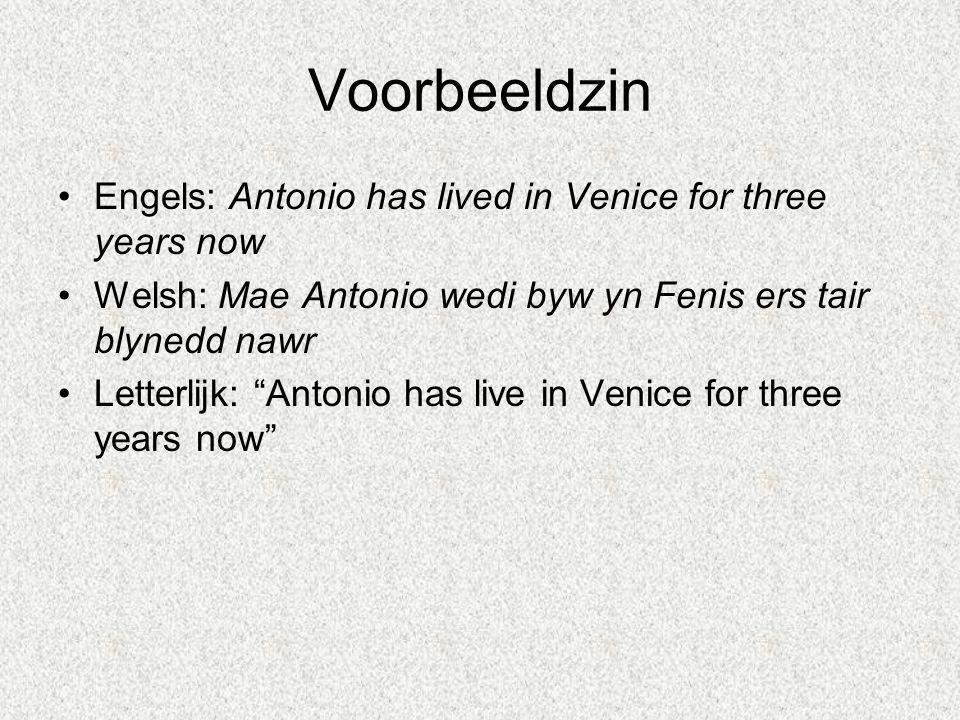 "Voorbeeldzin Engels: Antonio has lived in Venice for three years now Welsh: Mae Antonio wedi byw yn Fenis ers tair blynedd nawr Letterlijk: ""Antonio h"