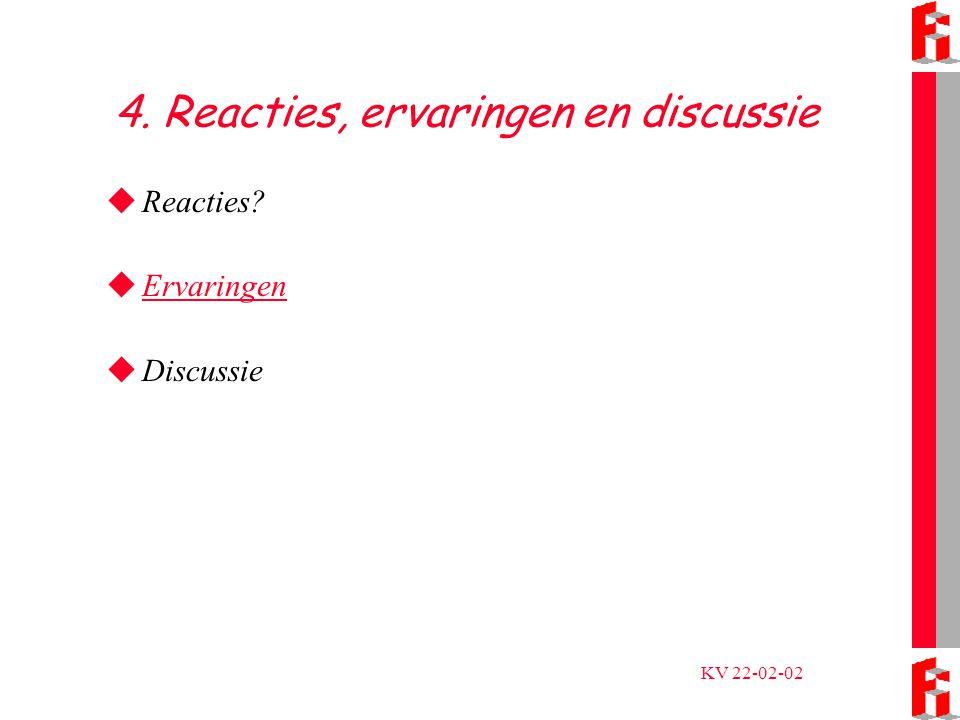 KV 22-02-02 4. Reacties, ervaringen en discussie  Reacties  Ervaringen Ervaringen  Discussie