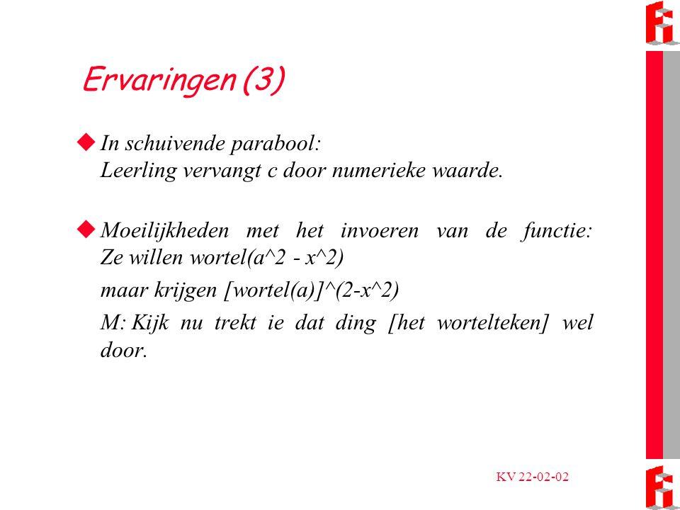 KV 22-02-02 Ervaringen (3)  In schuivende parabool: Leerling vervangt c door numerieke waarde.
