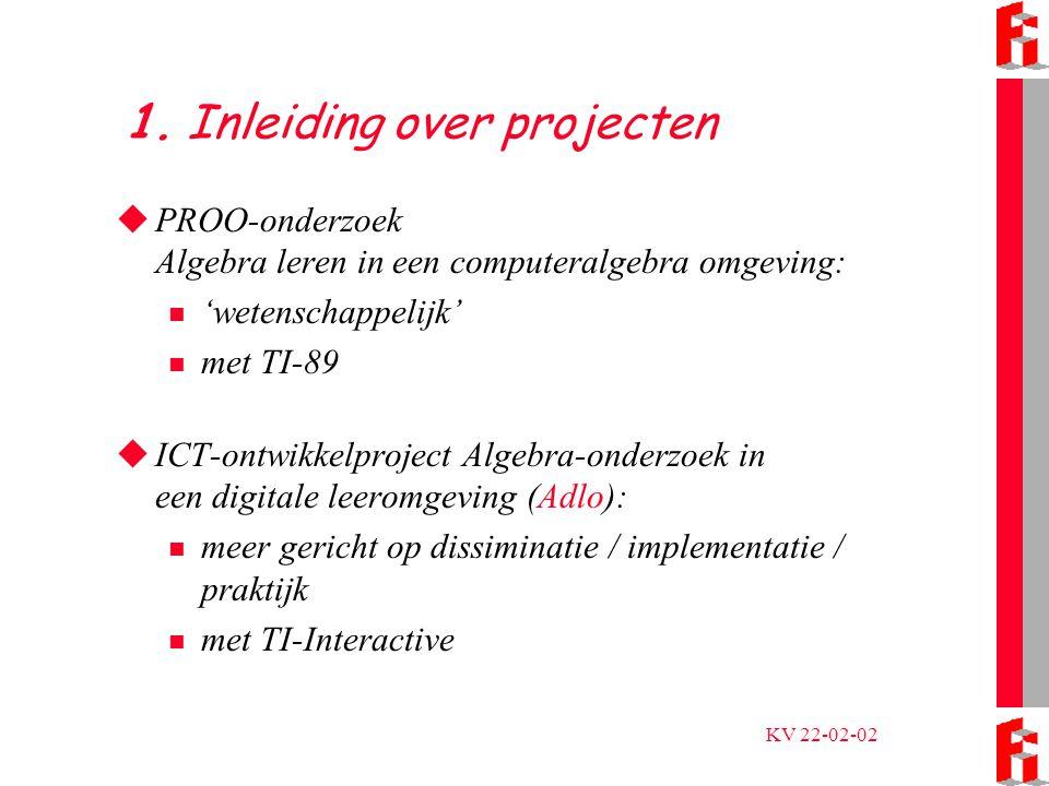 KV 22-02-02 Nog even over PROO  TI-89  Computeralgebra: Algebraïsche bewerkingen, vergelijkingen exact oplossen, formules herschrijven, differentiëren, integreren,...