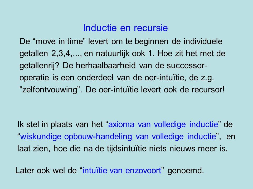 """Inductie en recursie De """"move in time"""" levert om te beginnen de individuele getallen 2,3,4,..., en natuurlijk ook 1. Hoe zit het met de getallenrij? D"""