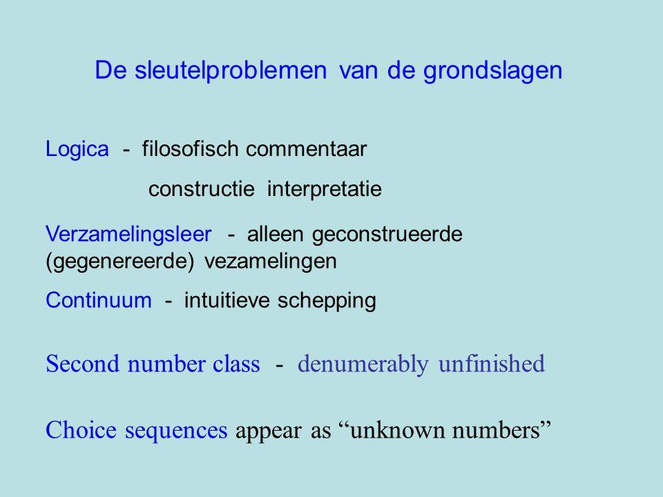 De sleutelproblemen van de grondslagen Logica - filosofisch commentaar constructie interpretatie Verzamelingsleer - alleen geconstrueerde (gegenereerd