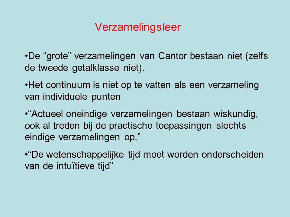 """Verzamelingsleer De """"grote"""" verzamelingen van Cantor bestaan niet (zelfs de tweede getalklasse niet). Het continuum is niet op te vatten als een verza"""