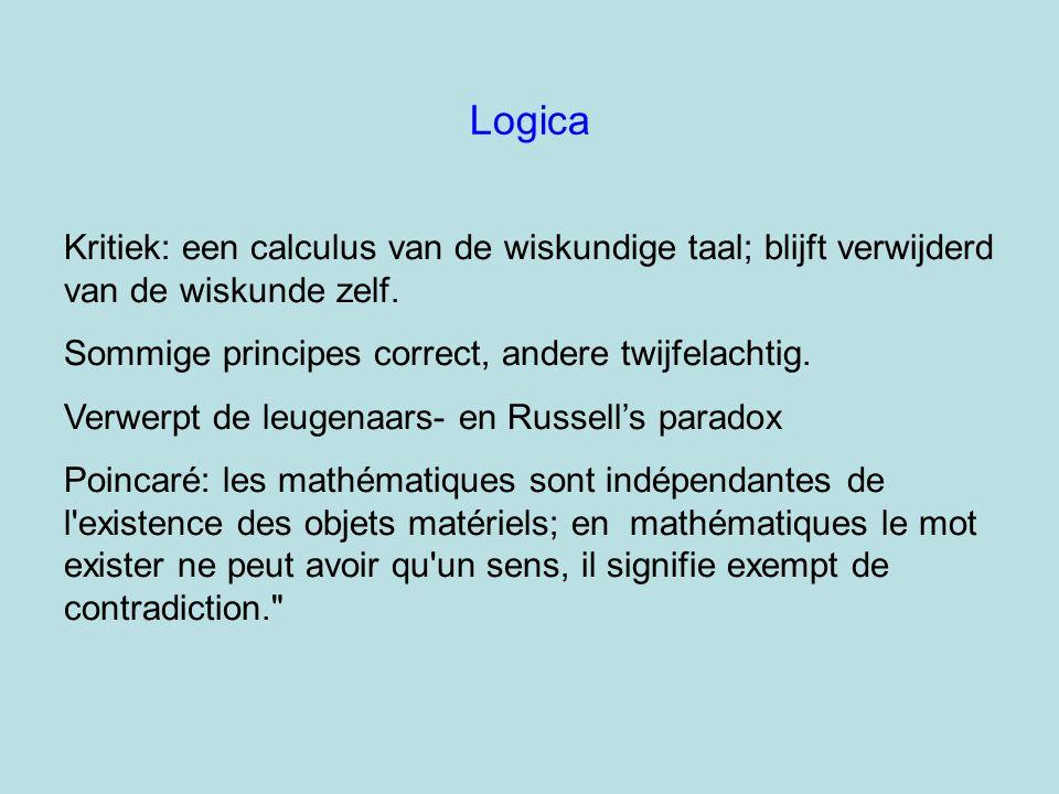 Logica Kritiek: een calculus van de wiskundige taal; blijft verwijderd van de wiskunde zelf. Sommige principes correct, andere twijfelachtig. Verwerpt