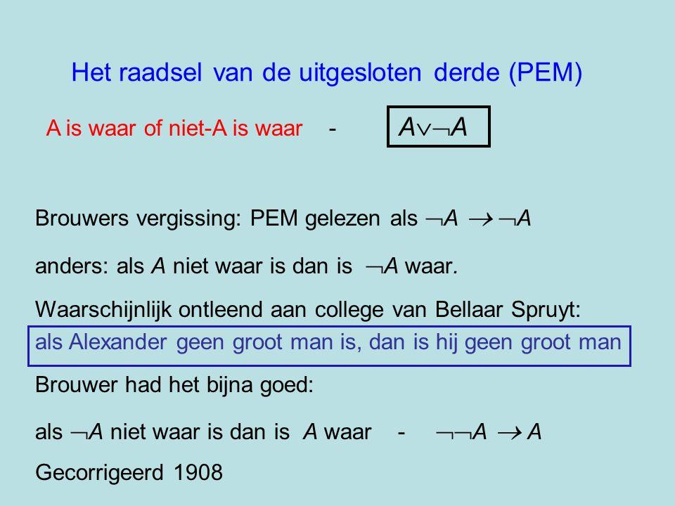 Het raadsel van de uitgesloten derde (PEM) A is waar of niet-A is waar - A  A Brouwers vergissing: PEM gelezen als  A  A anders: als A niet waar
