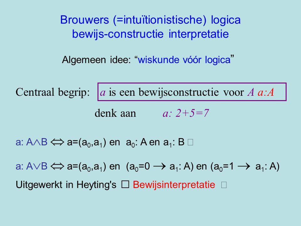 Brouwers (=intuïtionistische) logica bewijs-constructie interpretatie Centraal begrip: a is een bewijsconstructie voor A a:A denk aan a: 2+5=7 Algemee