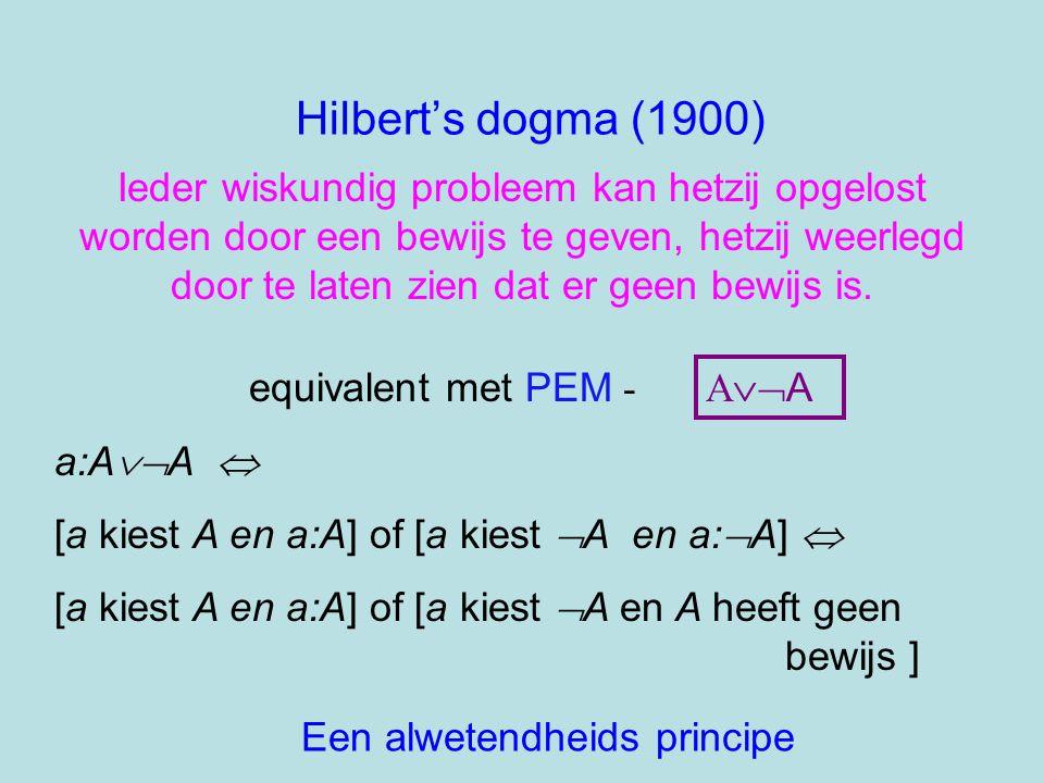 Hilbert's dogma (1900) Ieder wiskundig probleem kan hetzij opgelost worden door een bewijs te geven, hetzij weerlegd door te laten zien dat er geen be