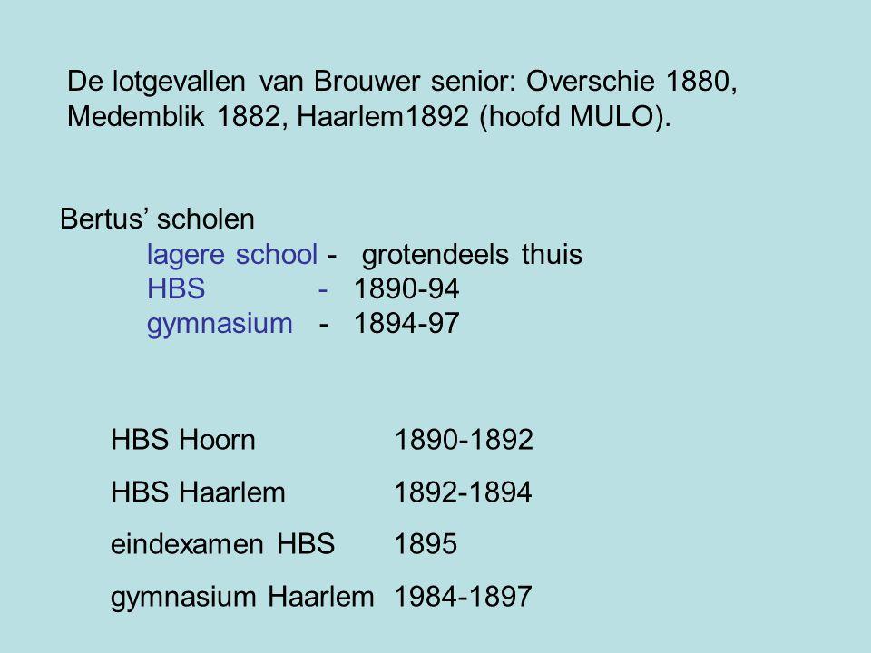Bertus' scholen lagere school - grotendeels thuis HBS - 1890-94 gymnasium - 1894-97 De lotgevallen van Brouwer senior: Overschie 1880, Medemblik 1882,