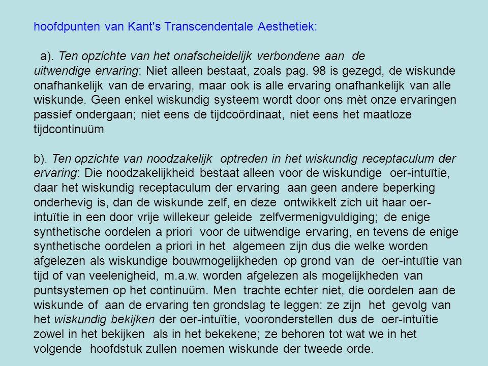 hoofdpunten van Kant's Transcendentale Aesthetiek: a). Ten opzichte van het onafscheidelijk verbondene aan de uitwendige ervaring: Niet alleen bestaat