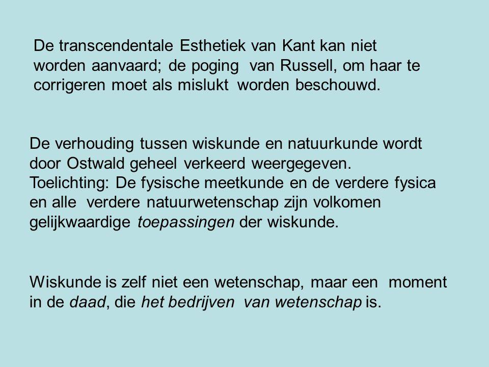 De transcendentale Esthetiek van Kant kan niet worden aanvaard; de poging van Russell, om haar te corrigeren moet als mislukt worden beschouwd. De ver