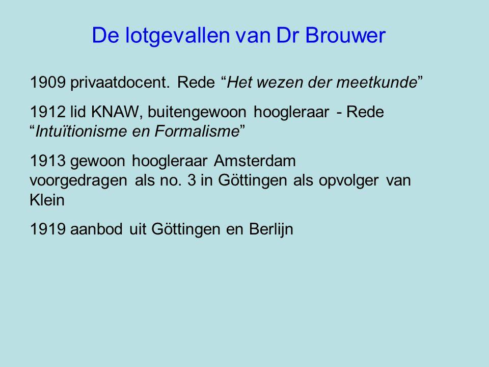 """De lotgevallen van Dr Brouwer 1909 privaatdocent. Rede """"Het wezen der meetkunde"""" 1912 lid KNAW, buitengewoon hoogleraar - Rede """"Intuïtionisme en Forma"""