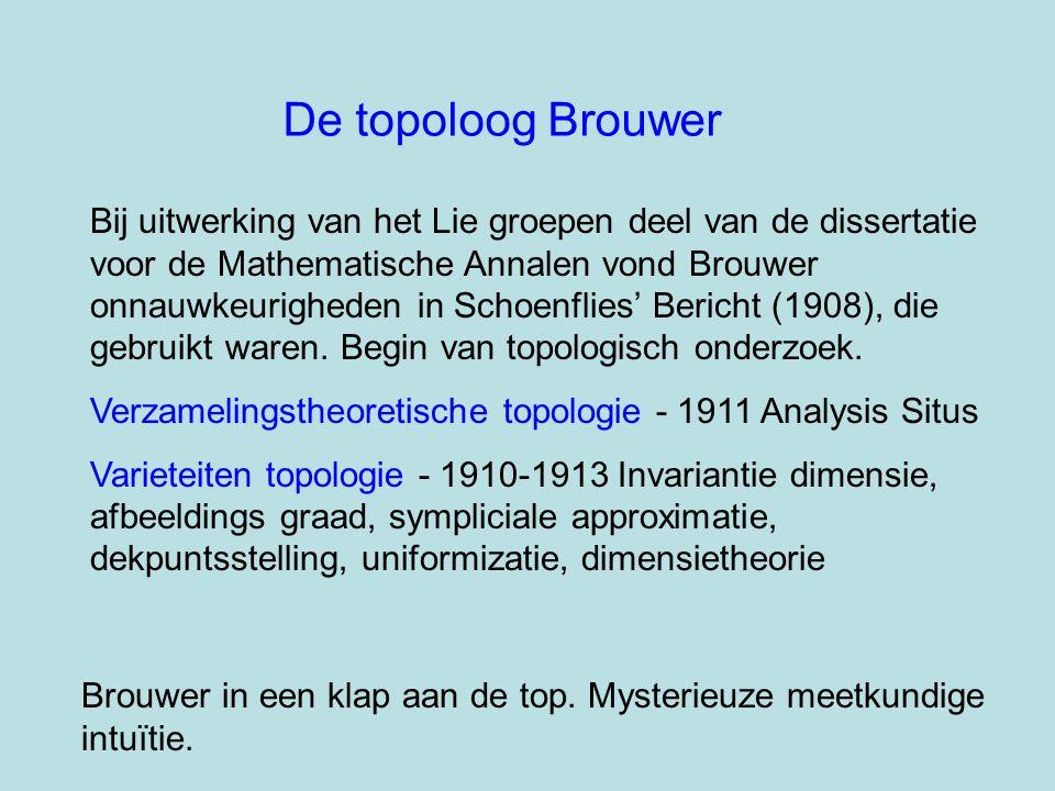 De topoloog Brouwer Bij uitwerking van het Lie groepen deel van de dissertatie voor de Mathematische Annalen vond Brouwer onnauwkeurigheden in Schoenf