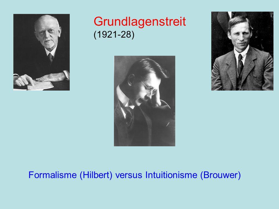 Formalisme (Hilbert) versus Intuitionisme (Brouwer) Grundlagenstreit (1921-28)
